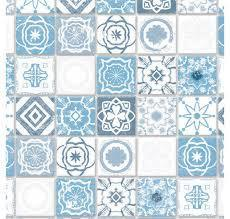"Tapete ""Antique Azure Mediterranean Tiles"""